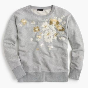 Gray and gold embroidered sweatshirt
